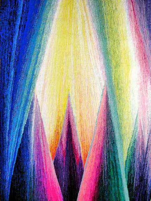 Aurora Borealis Behind the Trees # 4: Curtain of Light   hand woven tapestry 130cm x 183cm